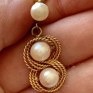 Jewelry - Estate 14k Yellow Gold and 6mm Pearl Demi-Parure